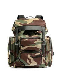 Utilitarian Camo Print Backpack Green Multi Saint Laurent