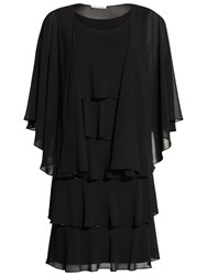 Gina Bacconi Beaded Edge Tiered Dress And Shawl Black