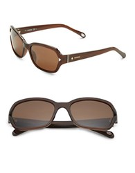 Fossil 55Mm Square Sunglasses Brown