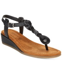 Bearpaw Gia T Strap Wedge Sandals Women's Shoes Black