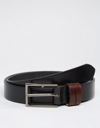 Asos Leather Belt With Contrast Keepers Black