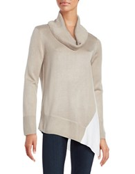 Calvin Klein Cowlneck Asymmetrical Colorblock Top Latte