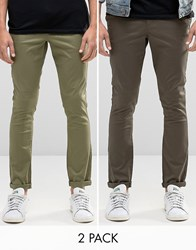 Asos 2 Pack Super Skinny Chinos In Dark Green And Light Khaki F Night B Olive Multi