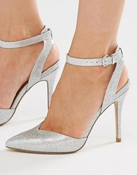 New Look 2 Part Glitter Heeled Shoe Silver