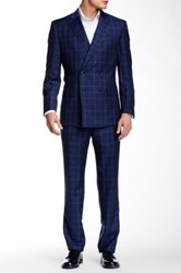 English Laundry Plaid Two Button Peak Lapel Wool Suit Blue