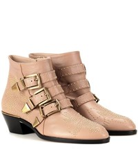 Chloe Susanna Studded Leather Ankle Boots Beige