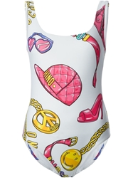 Moschino Accessories Print Swimsuit White