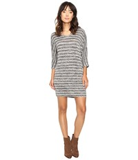 Culture Phit Gela Dolman Sleeve Striped Dress Charcoal White Women's Dress Black