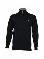 Raging Bull Knitted Quarter Zip Neck Hoodie Navy