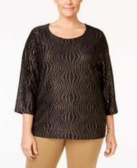 Jm Collection Plus Size Jacquard Wave Top Only At Macy's Black Novelty Wave