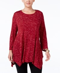 Styleandco. Style Co. Plus Size Space Dyed Handkerchief Hem Tunic Only At Macy's Deep Scarlet