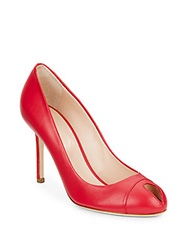 Sergio Rossi Leather Peep Toe Pumps Bright Pink