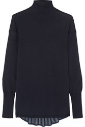 J Brand Clinton Chiffon Paneled Merino Wool Turtleneck Sweater Midnight Blue