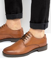 Asos Derby Shoes In Tan Leather With Heavy Sole Tan