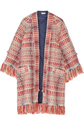Tory Burch Erica Fringed Metallic Tweed Jacket Red