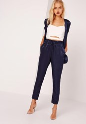 Missguided Satin Cigarette Trousers Navy Blue