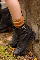 Ecote Buckled Ankle Cuff Combat Boot Black