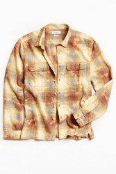 Urban Outfitters Uo Cole Bleached Shadow Plaid Flannel Button Down Shirt Yellow