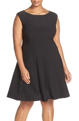 Gabby Skye Plus Size Women's Sleeveless Pintuck Fit And Flare Dress Black