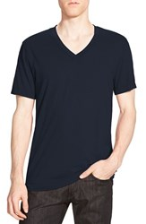 Men's James Perse Short Sleeve V Neck T Shirt Deep Blue