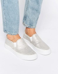 Pull And Bear Pullandbear Slip On Trainers Silver