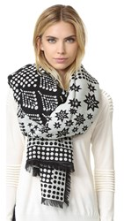 Temperley London Stellar Blanket Scarf Black Cream