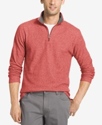 Izod Men's Textured Quarter Zip Sweater Saltwater Red