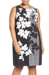 Vince Camuto Plus Size Women's Colorblock Floral Print Shift Dress Rich Black