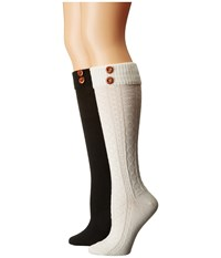 Steve Madden 2 Pack Button Cable Knee High Off White Black Women's Knee High Socks Shoes Multi