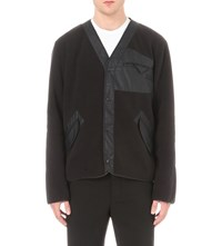 Yang Li Fleece Panelled Bomber Cardigan Black
