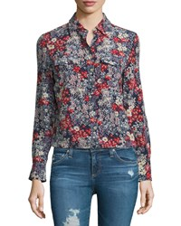 Ag Jeans Sutton Long Sleeve Floral Print Shirt Efflorescent Silk