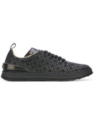 Eat My Dust Quilted Lace Up Sneakers Black