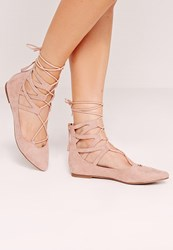 Missguided Ghillie Lace Up Pointed Flat Shoes Pink Pink