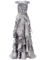 Christian Siriano Printed Ruffled Gown Grey