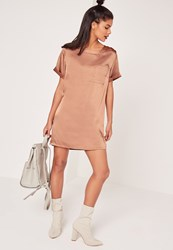 Missguided Satin Pocket Shift Dress Brown Cream