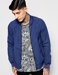 Scotch And Soda Bomber Jacket In Garment Dyed Cotton Cobalt Blue