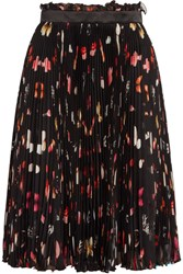 Alexander Mcqueen Pleated Printed Silk Chiffon Skirt Black