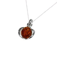 Goldmajor Amber And Sterling Silver Oval Cut Pendant Silver Orange