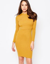 Ax Paris Long Sleeve Dress With Overlay Mustard White