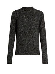 Joseph Tweed Effect Round Neck Long Sleeved Sweater Black