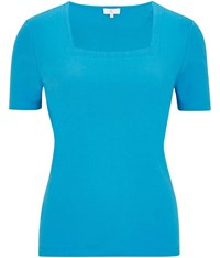 Cc Embroidered Square Neck Jersey Top Blue