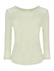 Linea Nordic Lace Inset Tee Moss Green