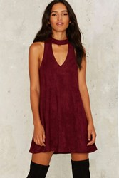 Nasty Gal Chateau Vegan Suede Dress Red