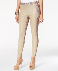 Thalia Sodi Faux Leather Front Snakeskin Print Skinny Pants Only At Macy's Sesame Seed Tan