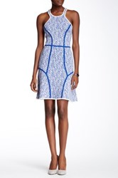 Yigal Azrouel Intarsia Paisley Knit Wool Blend Dress Blue