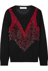 Altuzarra Powell Embellished Merino Wool Sweater Black Red