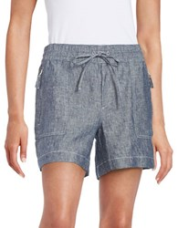 Lord And Taylor Chambray Linen Shorts Dark Evening Blue