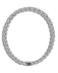 John Hardy Classic Chain Small Braided Necklace With Black Sapphire 18 No Color