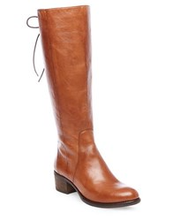 Steve Madden Leather Lace Up Knee High Boots Cognac