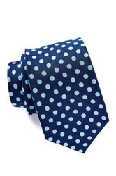Isaac Mizrahi Navy And Teal Spotted Silk Tie Blue